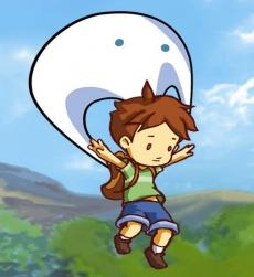 Review A Boy and his Blob: Blob kan veranderen in vele objecten, zoals deze parachute.