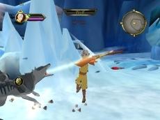 Review Avatar: De Legende van Aang: Aang vechtend tegen één wolf.