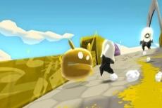Review De Blob: De Blob wordt achtervolgd door een politieagent.