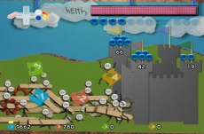 Review Defend your Castle: Multiplayer: 4 man in actie. Leuk detail: de cursors zijn vervangen door plastic clipjes.