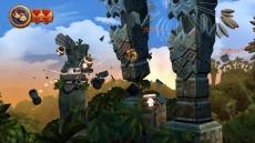 Review Donkey Kong Country Returns: Snel van ton naar ton springen voordat de pilaren instorten.