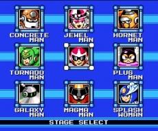 Review Mega Man 9: Het bekende scherm met daarin de 8 bazen, waarvan een paar je flink het leven zuur gaan maken.