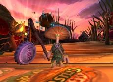 Review Mushroom Men - The Spore Wars: Je kunt je eigen wapens maken, zoals dit flesdop-tak zwaard.