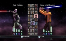 Review Star Wars: The Force Unleashed: Kies je favoriete Star Wars personage in de Duel Mode.