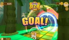 Review Super Monkey Ball: Banana Blitz: Goal! Het is de bedoeling dat je zo snel mogelijk door deze hoepel heen rolt.