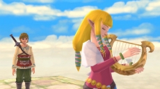 Review The Legend of Zelda: Skyward Sword: Link en Zelda samen op de Goddess Statue tijdens de ceremonie.