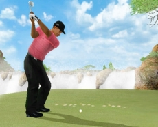 Review Tiger Woods PGA Tour 07: <em> Als je hard genoeg slaat kom je met gemak over de waterval heen, maar dan moeten de controls het wel doen. </em>