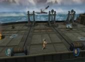 Met B kun je een steen op de katapult zetten om dat schip te laten zinken.