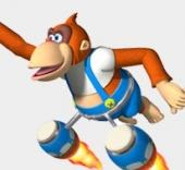 Lanky Kong, een van de snelste race-apen in deze game.