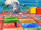 Tennis tegen Blooper, die vier rackets gebruikt. Verreweg de lastigste minigame, omdat bepaalde delen van het veld ook nog eens verboden terrein zijn!