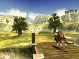 Link met zijn trouwe paard Epona die samen door Hyrule field rennen.