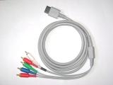 De bovenste grijze kabel moet in de Wii, en de gekleurde kabels in de tv.