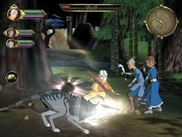 Aang, Sokka en Katara samen aan het jagen.