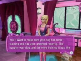 Barbie helpt je met tips doorheen het spel.