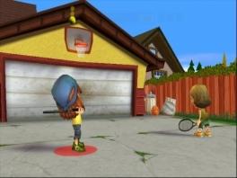 Dan schieten we nu deze bal in de basket... met een racket?