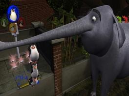 Toen kwam er een olifant met een lange snuit, die blies de pinguïns het spel uit...