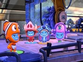 4 spelers strijden in de Monster Inc. wereld.