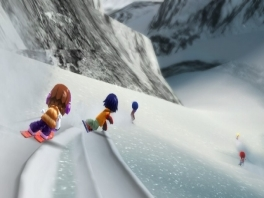 Gebruik je Wii Balance Board als snowboard en verken daarmee de twee grote bergen in de game!