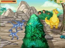 Help samen met Diego de moeder dinosaurus om bij haar kinderen te komen.