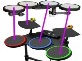 De paarsje streepjes geven aan welke drumpads bij welke drums in het spel horen.