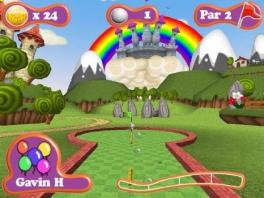 Speel een potje mini golf met een beer.