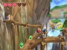 De wereld in Klonoa is een echte fantasiewereld en ziet er prachtig uit.
