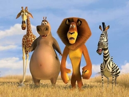 Net als in de film zijn de hoofdrollen voor Alex, Marty, Melman en Gloria