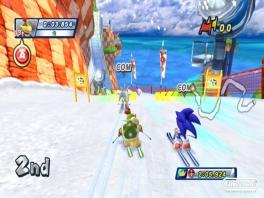 Je ziet hier dat Sonic zijn wereld is omgetoverd tot een sneeuwpiste.