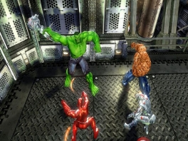 "Hulk en Thing tegen <a href = https://www.mariowii.nl/wii_spel_info.php?Nintendo=Iron_Man>Iron Man</a> en Silver Surfer: ""fijnknijpers en co."" vs. ""metaalmania""."