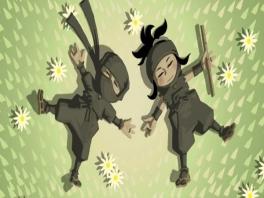 Hiro en Suzume zijn ninja's: Hiro gebruikt het Evil Samurai Warlord en Suzume de fluit.