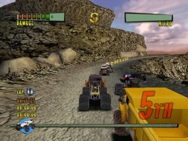 Races met monstertrucks kun je het best houden op een smalle weg, honderden meters hoog.