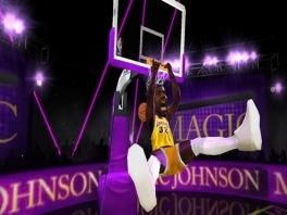 Deze game is minder serieus dan de normale NBA-games, zoals je al kan zien aan de spelers...