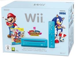 De Wii Slim is ook in het blauw verkrijgbaar met het spel <a href = https://www.mariowii.nl/wii_spel_info.php?Nintendo=Mario_and_Sonic_op_de_Olympische_Spelen_-_Londen_2012>Mario & Sonic op de Olympische Spelen - Londen 2012</a>