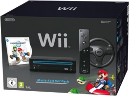 Dit is de Wii Slim in het <a href = https://www.mariowii.nl/wii_spel_info.php?Nintendo=Mario_Kart_Wii>Mario Kart Wii</a> Black Pack!