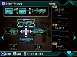 Hier kun je wapens selecteren, niet dat het uitmaakt, ze zijn allemaal even slecht!