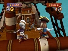 Een echt piratenduel: de eerste die van de mast afvalt, verliest...