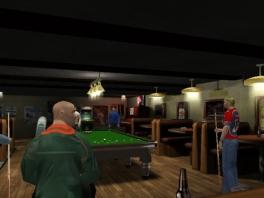 In dit spel speel je als een groep poolfanaten in een café.