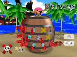 Prik een zwaard in de ton. Als de piraat er uit popt ben je af!