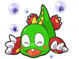 Deze groene bubbeldraak heet Bub, terwijl zijn oudere blauwe broer Bob heet.
