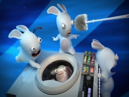 Reis met de wasmachine van de Rabbids door de tijd!