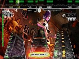 In plaats van de ronde noten uit Guitar Hero heeft Rock Band mooie balkjes als noten.