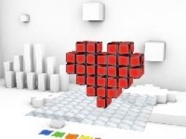 naast de normale kubus kan je ook vormpjes maken, zoals een hartje.