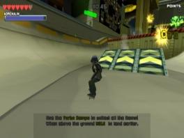 Skate je een weg op de skatebaan.