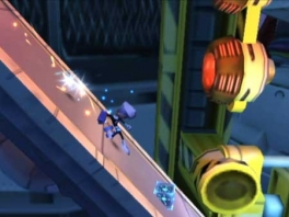 Terwijl Danny Phantom omlaag glijdt moet hij oppassen voor obstakels.