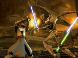 """Jouw drie zwaarden tegen mijn drie krachten: mijn <a href = https://www.mariowii.nl/wii_spel_info.php?Nintendo=Logic3_Lightsaber>Lightsaber</a>, mijn Force en mijn baard..."""