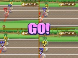 Met 4 spelers tegelijk, wie is de snelste op de 100 meter!