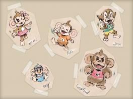 VLNR.: MeeMee, Baby, Aiai, Gongon en natuurlijk rechtsboven: Jam.