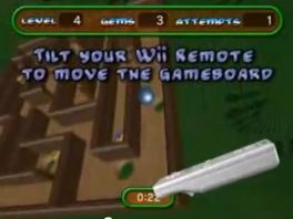 In The Incredible Maze moet je met de Wiimote het doolhof kantelen.