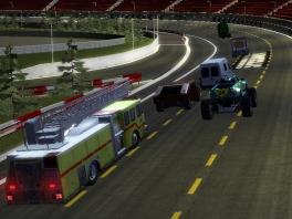 Race met verschillende zware voertuigen.