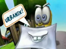 Je speelt als de vrolijke gele tractor Urbanix.
